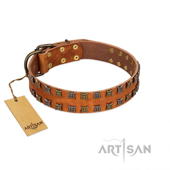 """Terra-cotta"" FDT Artisan Tan Leather Amstaff Collar with Two Rows of Studs"