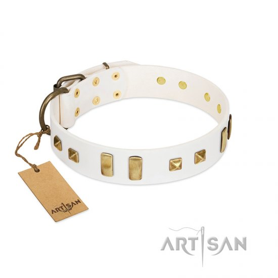 """Wintertide Mood"" FDT Artisan White Leather Amstaff Collar with Old Bronze-like Plates and Studs"
