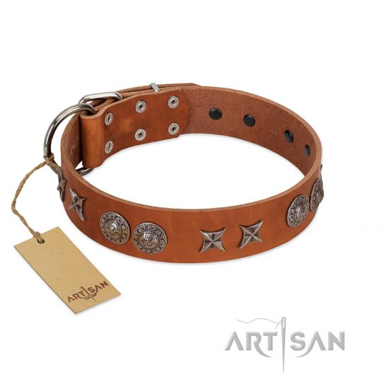 """Splendid Armor"" Premium Quality FDT Artisan Tan Designer Amstaff Collar with Shields and Stars"