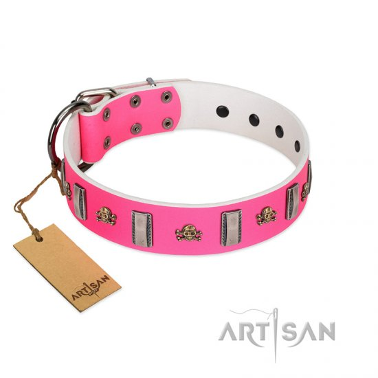 """Sea Dog"" Trendy FDT Artisan Pink Leather Amstaff Collar with Plates and Skulls"