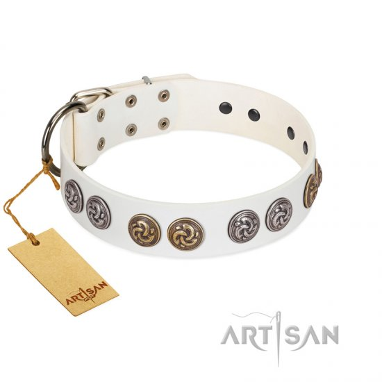 """White Moonlight"" FDT Artisan White Leather Amstaff Collar with Elegant Decorations"