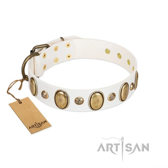 """Milky Lagoon"" FDT Artisan White Leather Amstaff Collar with Vintage Looking Oval and Round Adornments"