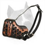 'Magma' Painted Leather American Staffordshire Terrier Muzzle