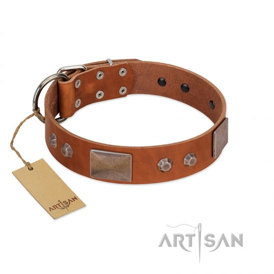 """Great Obelisk"" Handcrafted FDT Artisan Tan Leather Amstaff Collar with Large Plates and Pyramids"