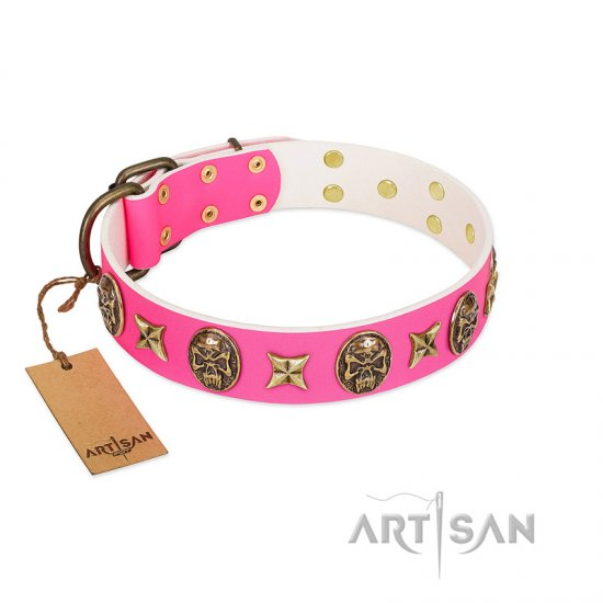 """Fashion Ecstasy"" FDT Artisan Pink Leather Amstaff Collar with Bronze-like Plated Stars and Skulls"