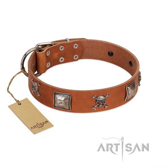 """Amorous Escapade"" Embellished FDT Artisan Tan Leather Amstaff Collar with Chrome Plated Crossbones and Plates"