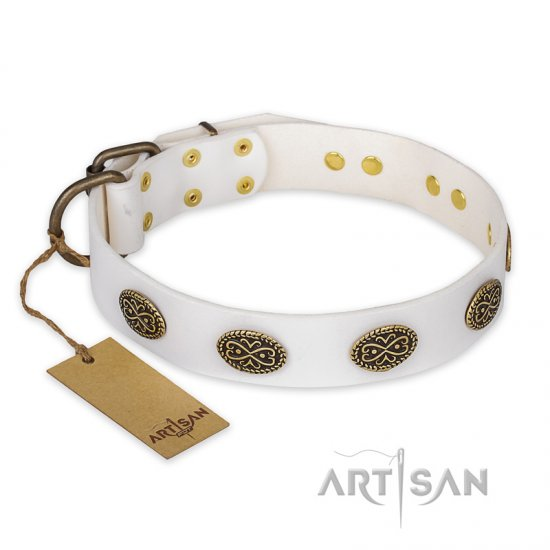 """Lovely Lace"" FDT Artisan White Leather Amstaff Collar with Old Bronze Look Ovals"