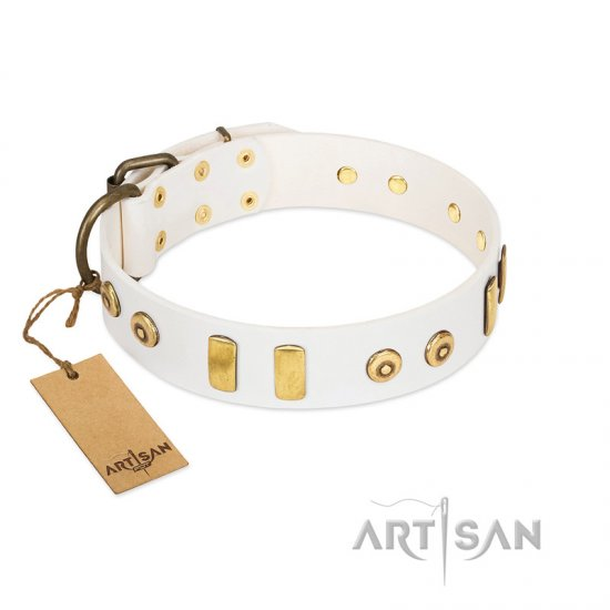 """Golden Union"" Elegant FDT Artisan White Leather Amstaff Collar with Old Bronze-like Dotted Studs and Tiles"