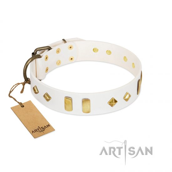 """Hella Cool"" FDT Artisan White Leather Amstaff Collar Adorned with Plates and Rhombs"