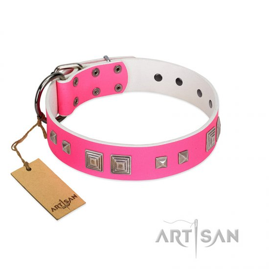 """Rosy Evolution"" Designer Handmade FDT Artisan Pink Leather Amstaff Collar"