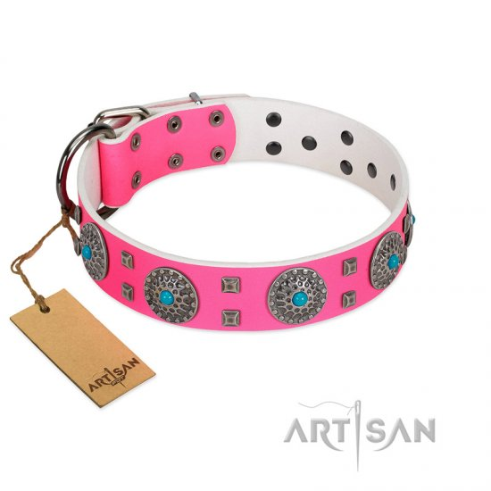 """Pink Delight"" FDT Artisan Pink Leather Amstaff Collar for Everyday Walking"