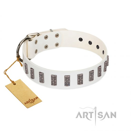 """Heaven's Gates"" Handmade FDT Artisan White Leather Amstaff Collar with Silver-Like Engraved Plates"