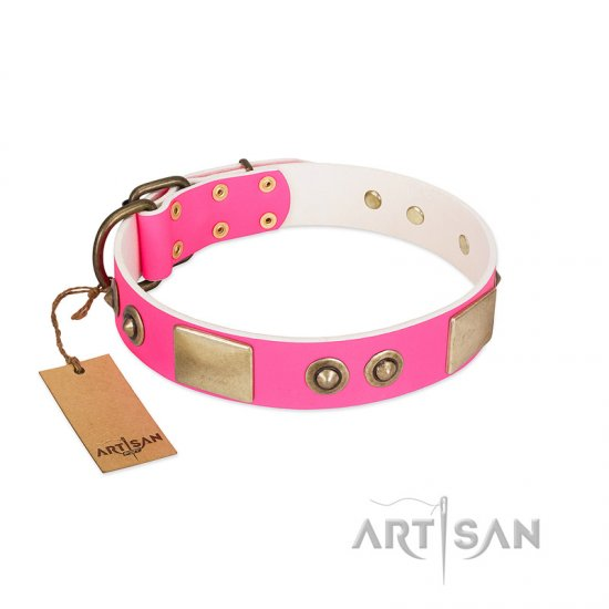 """Pink Splash"" FDT Artisan Soft Leather Amstaff Collar with Bronze-like Plates and Medallions"