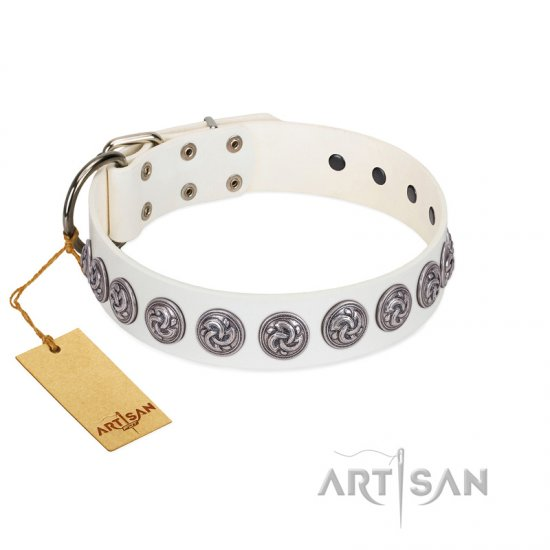 """Bohemian Spirit"" Handmade FDT Artisan White Leather Amstaff Collar with Vintage Decorations"