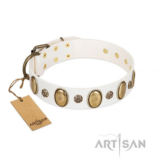 """Nifty Doodad"" FDT Artisan White Leather Amstaff Collar with Amazing Large Ovals and Small Studs"
