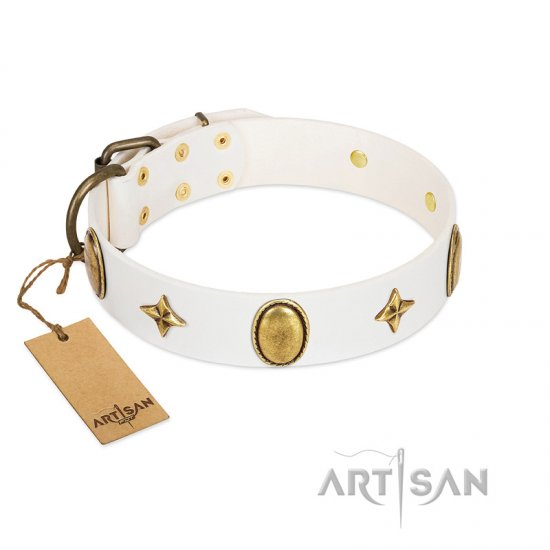 """Hollywood Star"" FDT Artisan White Leather Amstaff Collar with Ovals and Stars - 1 1/2 inch Wide"
