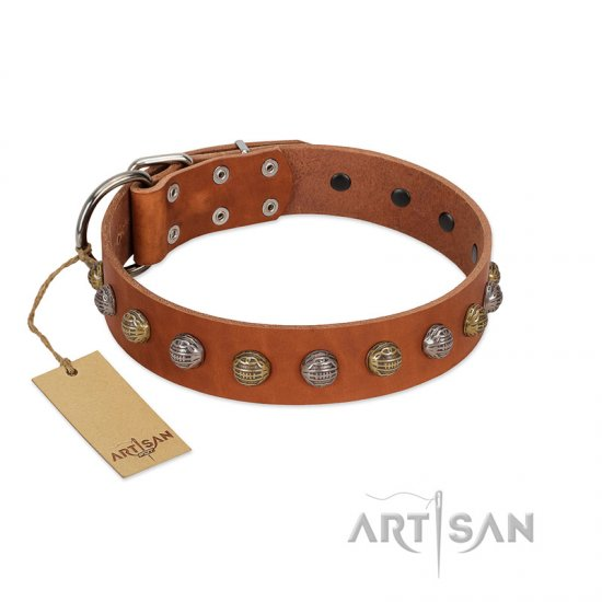 """Dogue-Vogue"" FDT Artisan Tan Leather Amstaff Collar with Engraved Chrome-plated Studs"