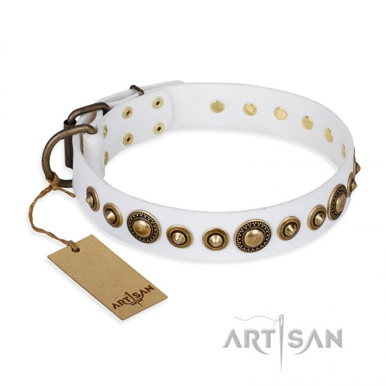 """Swirl of Fashion"" FDT Artisan Delicate White Leather Amstaff Collar with Stunning Bronze-Plated Round Studs"