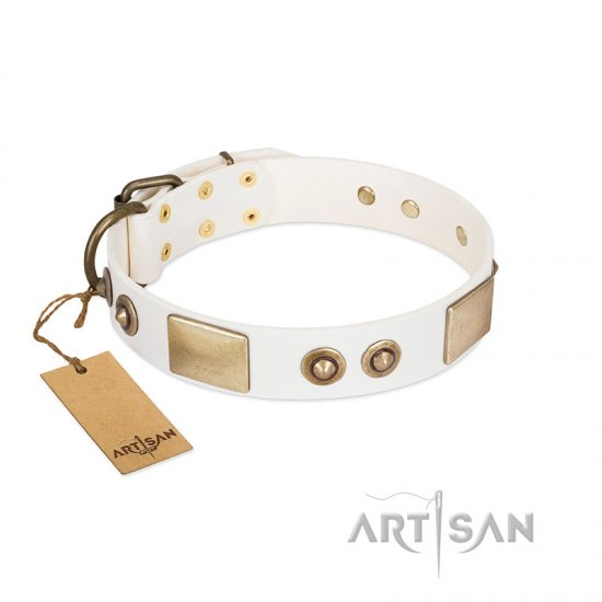 """Noble Impulse"" FDT Artisan White Leather Amstaff Collar Adorned with Antique Plates and Studs"