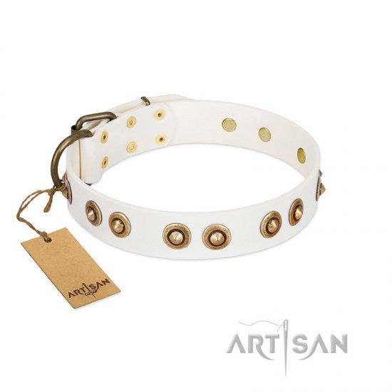 """Moonlit Stroll"" FDT Artisan White Leather Amstaff Collar with Antique Decorations"