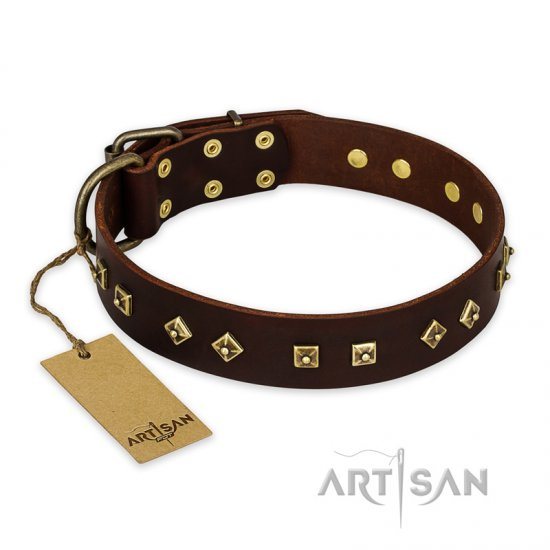 """Fashion Studs"" FDT Artisan Decorated Leather Amstaff Collar with Old Bronze-Plated Steel Hardware"