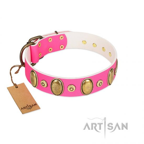 """Drawing Power"" FDT Artisan Pink Leather Amstaff Collar with Engraved Ovals and Dotted Studs"