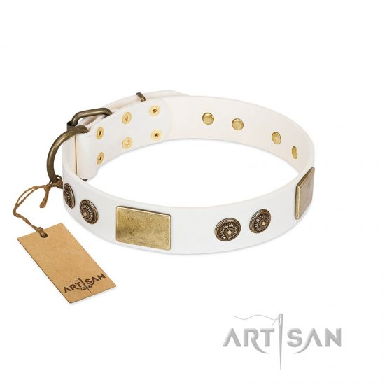 """Sweet Melody"" FDT Artisan White Leather Amstaff Collar with Plates and Ornamented Studs"