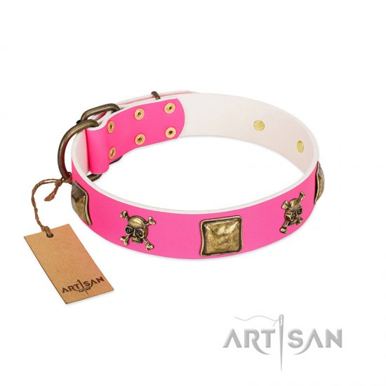 """Wild and Free"" FDT Artisan Pink Leather Amstaff Collar with Skulls and Crossbones Combined with Squares"