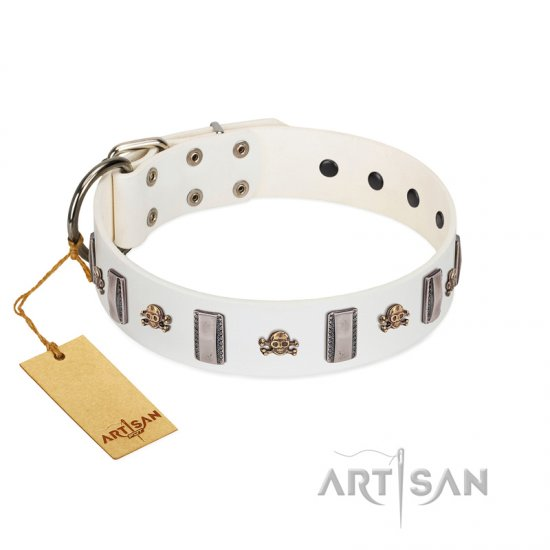 """Mysterious Voyage"" FDT Artisan White Leather Amstaff Collar with Engraved Plates and Skulls - Click Image to Close"