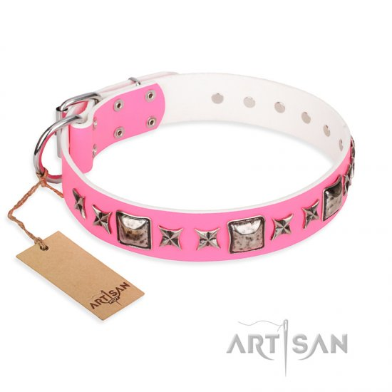 """Lady in Pink"" FDT Artisan Extravagant Leather Amstaff Collar with Studs"