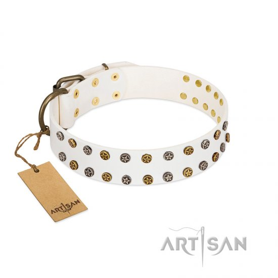 """Crystal Night"" FDT Artisan White Leather Amstaff Collar with Two Rows of Small Studs"