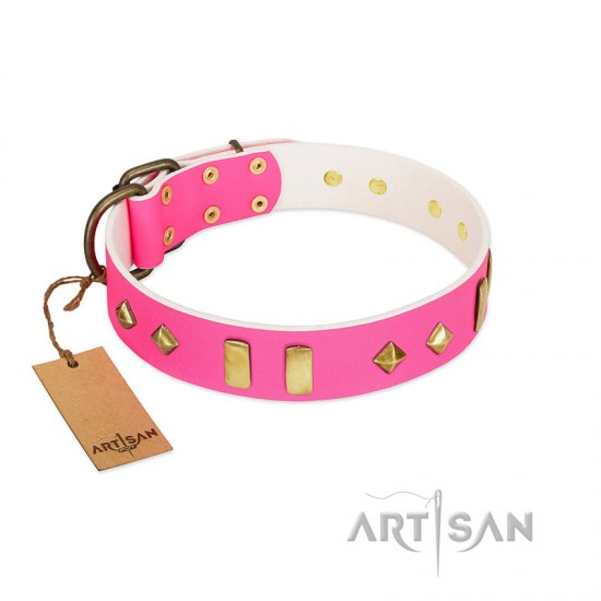 """Gentle Temptation"" FDT Artisan Pink Leather Amstaff Collar with Goldish Plates and Studs"
