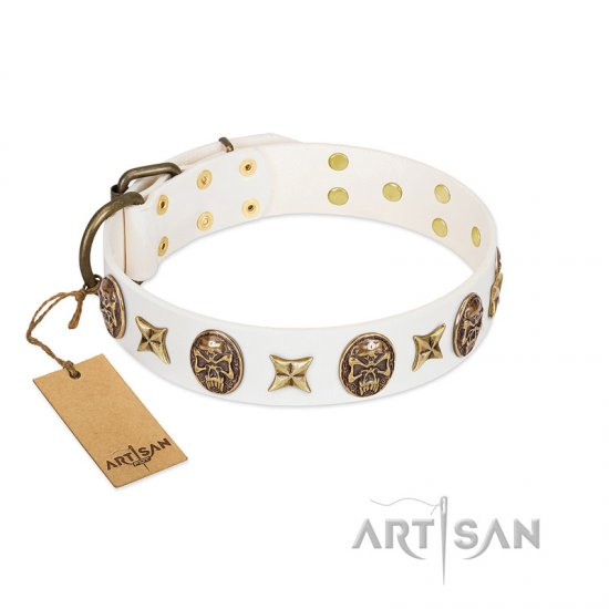"""Fads and Fancies"" FDT Artisan White Leather Amstaff Collar with Stars and Skulls"