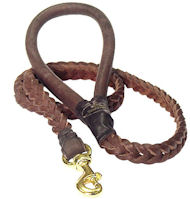 4 FT Braided Leather Dog Leashes for Amstaff