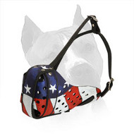 Real American Hand Painted Leather Dog Muzzle for Amstaff