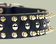 Black Leather Spiked Studded Dog Collar for Amstaff