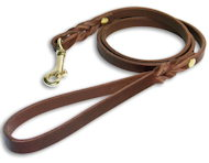 Custom Leather Dog Leash for Amstaff with brass hook