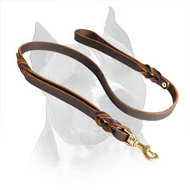 Two Handle Leather Amstaff Leash with Braided Decoration