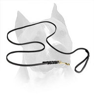 Marvelous Leather Amstaff Leash with Braided Ends