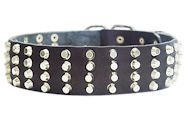 Wide Studded Leather Dog Collar-2 inch wide for Amstaff