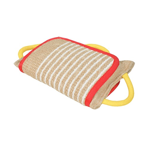 Strong Jute Bite Pillow with 3 Handles for Amstaff