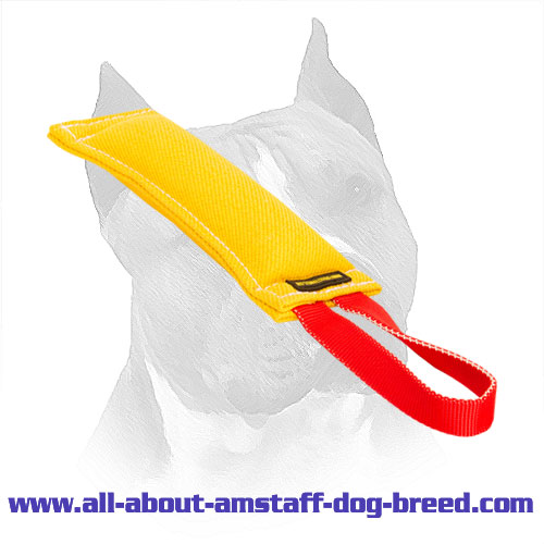 French Linen Bite Tag For Amstaff With Nylon Handle