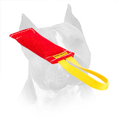 French Linen Bite Toy For Amstaff With Nylon Loop