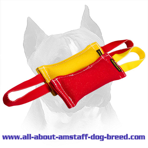 French Linen Bite Tug Set for Amstaff with Stitched Edges
