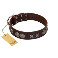 """Antique Style"" Designer Handmade FDT Artisan Brown Leather Amstaff Collar"