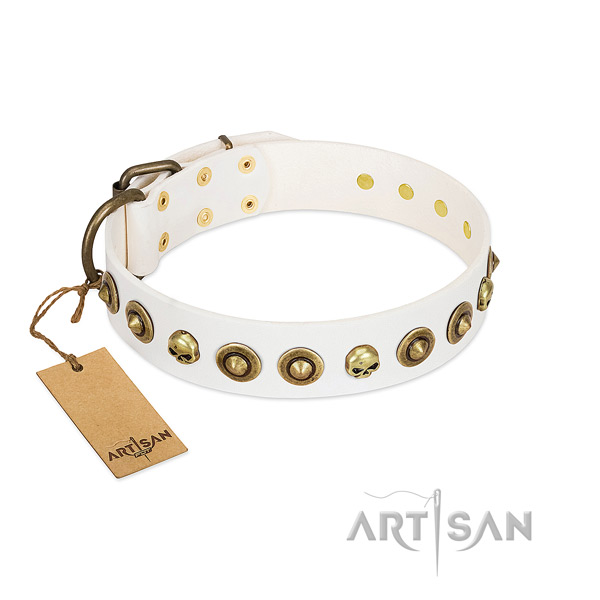 Full grain genuine leather collar with fashionable embellishments for your doggie