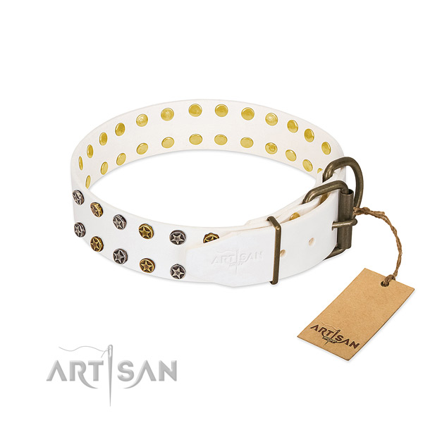 Inimitable full grain genuine leather dog collar with durable decorations