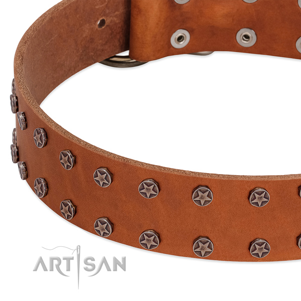 Significant genuine leather dog collar for easy wearing