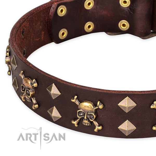 Handy use embellished dog collar of top quality full grain leather