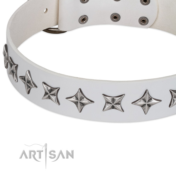 Easy wearing decorated dog collar of top quality full grain genuine leather